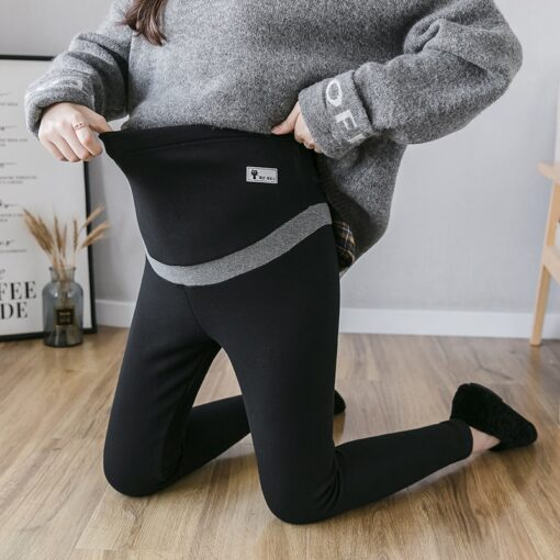 Pregnant Women Winter Warm Trousers With Pink Thickening Velvet Striped Patchwork Embroidery Maternity Abdomen Pants Leggings 1