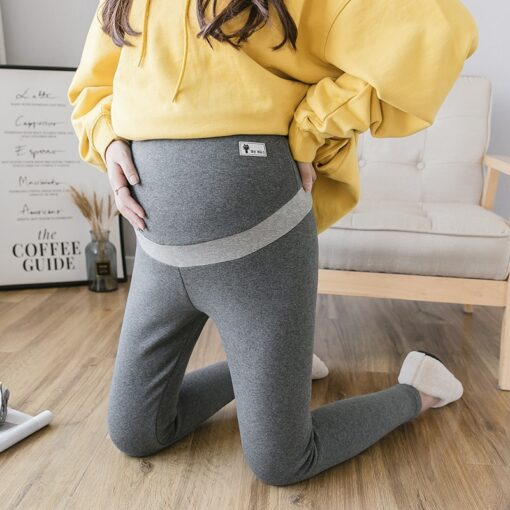 Pregnant Women Winter Warm Trousers With Pink Thickening Velvet Striped Patchwork Embroidery Maternity Abdomen Pants Leggings 3