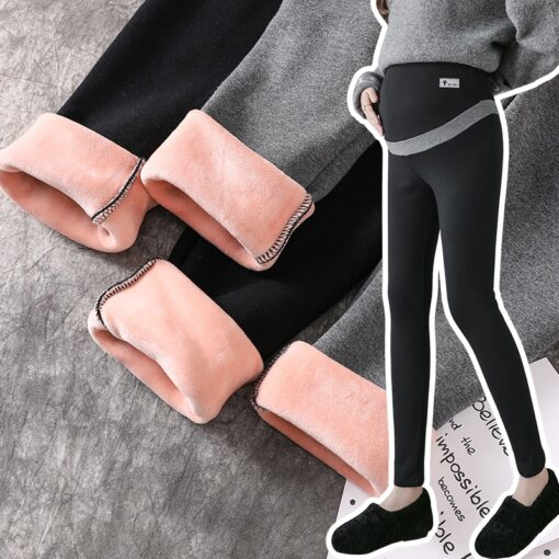 Pregnant Women Winter Warm Trousers With Pink Thickening Velvet Striped Patchwork Embroidery Maternity Abdomen Pants Leggings