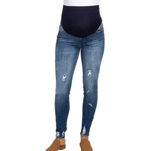 Pregnant Women s High Waist Belly Protection Push Up Jeans Ladies Fashion Slim Ripped Jeans Comfortable 1