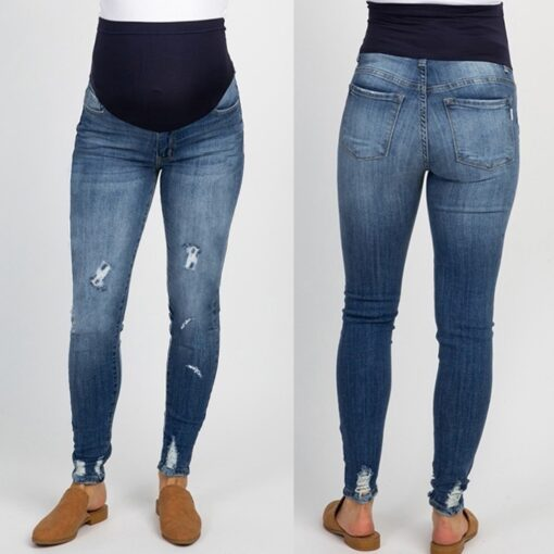 Pregnant Women s High Waist Belly Protection Push Up Jeans Ladies Fashion Slim Ripped Jeans Comfortable 2
