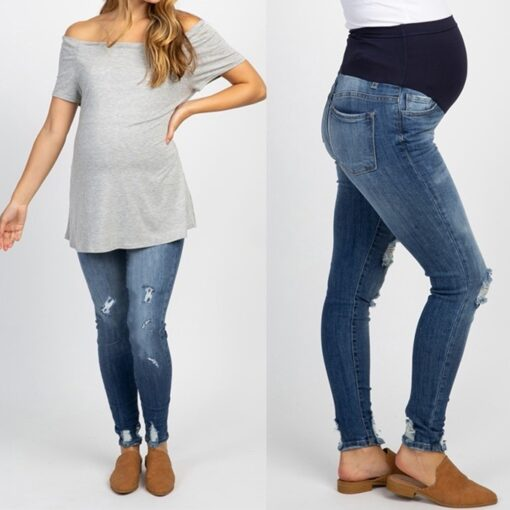 Pregnant Women s High Waist Belly Protection Push Up Jeans Ladies Fashion Slim Ripped Jeans Comfortable 3