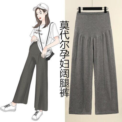 Pregnant women summer thin cotton wide leg pants loose maternity abdomen trousers high waist pregnancy full 1
