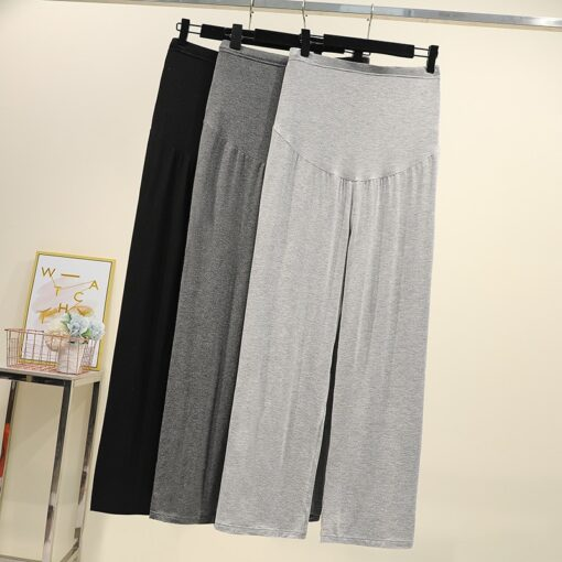 Pregnant women summer thin cotton wide leg pants loose maternity abdomen trousers high waist pregnancy full 2