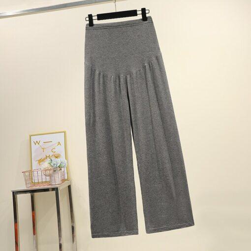 Pregnant women summer thin cotton wide leg pants loose maternity abdomen trousers high waist pregnancy full 3