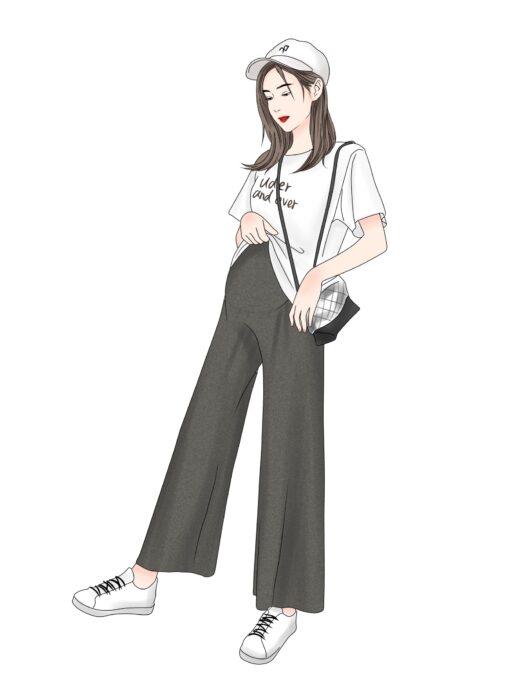 Pregnant women summer thin cotton wide leg pants loose maternity abdomen trousers high waist pregnancy full 4