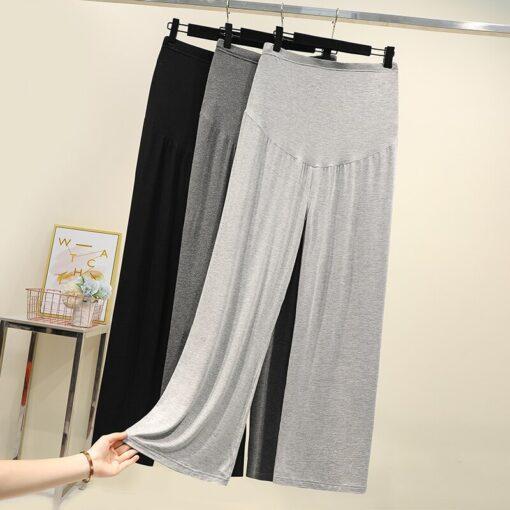 Pregnant women summer thin cotton wide leg pants loose maternity abdomen trousers high waist pregnancy full