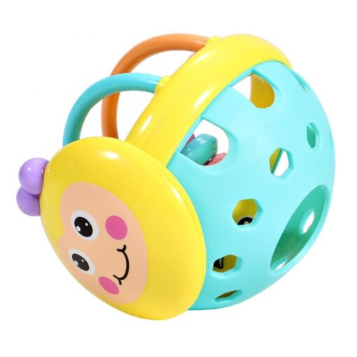 Puzzle Baby Rattles Bee Hand Knocking Rattle Rubber Dumbbell Kids Early Educational Soft Toys Christmas Gift 1