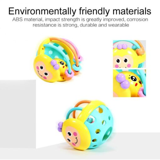 Puzzle Baby Rattles Bee Hand Knocking Rattle Rubber Dumbbell Kids Early Educational Soft Toys Christmas Gift 3