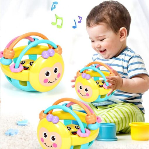Puzzle Baby Rattles Bee Hand Knocking Rattle Rubber Dumbbell Kids Early Educational Soft Toys Christmas Gift 4