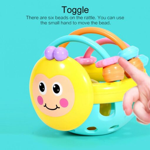 Puzzle Baby Rattles Bee Hand Knocking Rattle Rubber Dumbbell Kids Early Educational Soft Toys Christmas Gift 5