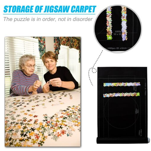 Puzzles Mat Jigsaw Roll Felt Mat Play Mat Large For Up To 1500 Pieces Puzzle Accessories 5