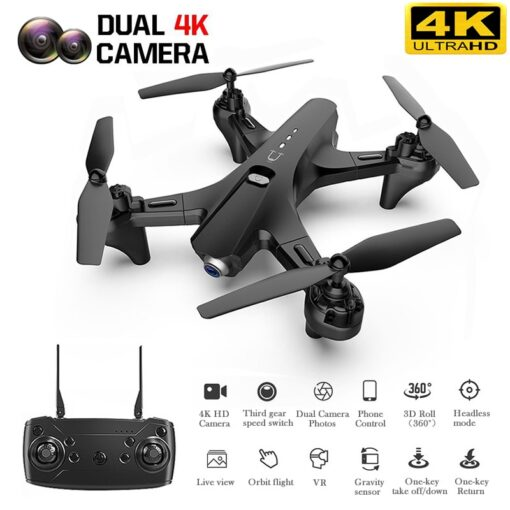 RC Quadrocopter with 4K Dual Camera Drone One Key Return Four aixes Reomote Control HD FPV