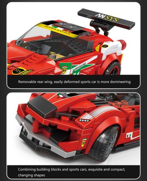 Racing Blocks Series Small Racing Car Super Racing Car Building Blocks Bricks Kids Toys Educational Toys 2