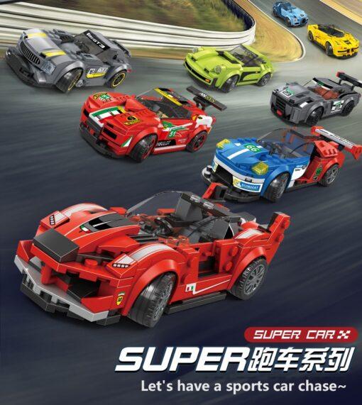 Racing Blocks Series Small Racing Car Super Racing Car Building Blocks Bricks Kids Toys Educational Toys