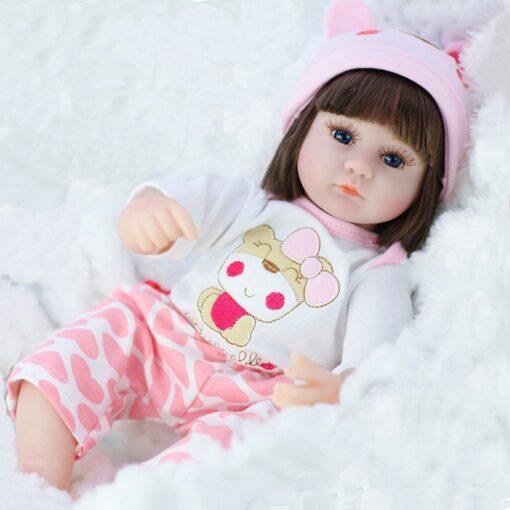 Reborn Baby Doll 42CM Baby Reborn Dolls Toys For Girls Accompany Doll Lifelike Toddler Blue Eyes 2