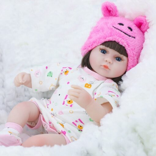 Reborn Baby Doll 42CM Baby Reborn Dolls Toys For Girls Accompany Doll Lifelike Toddler Blue Eyes