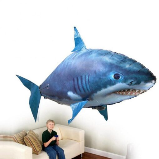 Remote Control Flying Shark Fish Toys RC Radio Air Balloons Swimming Inflatable Blimp Xmas Kids Gifts