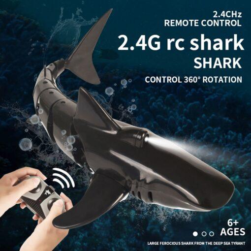 Remote Control Shark Boat Toy 2 4G 4 way Waterproof Shark Toys RC Air Swimming Fish 2