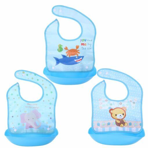 Removable Baby Bibs Imitation Silicone Waterproof Aprons Baby Bib Bandana Cartoon Feeding Rice Bibs Baby Saliva 1