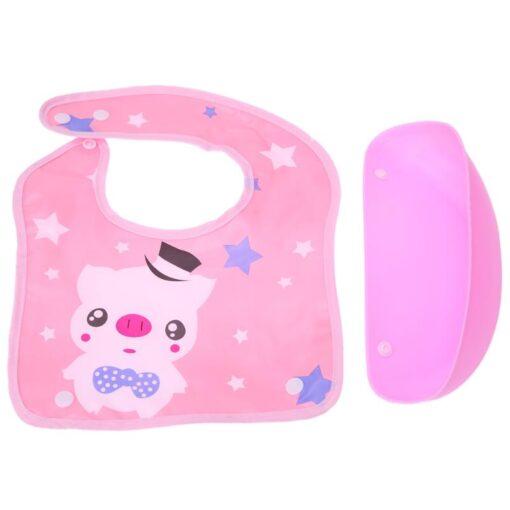 Removable Baby Bibs Imitation Silicone Waterproof Aprons Baby Bib Bandana Cartoon Feeding Rice Bibs Baby Saliva 5