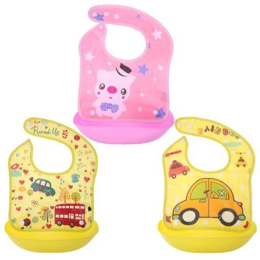 Removable Baby Bibs Imitation Silicone Waterproof Aprons Baby Bib Bandana Cartoon Feeding Rice Bibs Baby Saliva