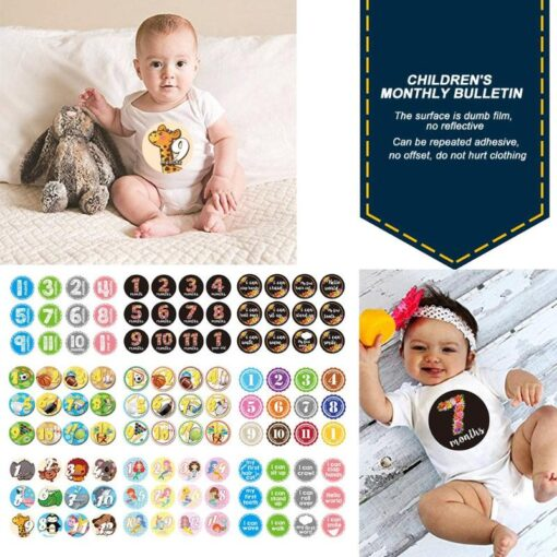 Repeatedly Baby Milestone Photography Card High grade Paper Multi function Portable Newborn Monthly Commemorative Sticker 1