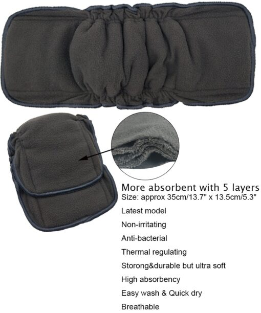 Reusable Bamboo Cotton Insert Baby Cloth Diaper Mat Bamboo Charcoal Nappy Inserts Changing Liners Cotton Insert 4