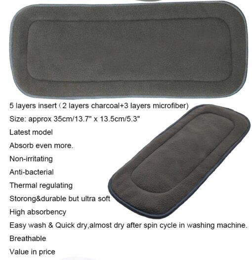 Reusable Bamboo Cotton Insert Baby Cloth Diaper Mat Bamboo Charcoal Nappy Inserts Changing Liners Cotton Insert 5