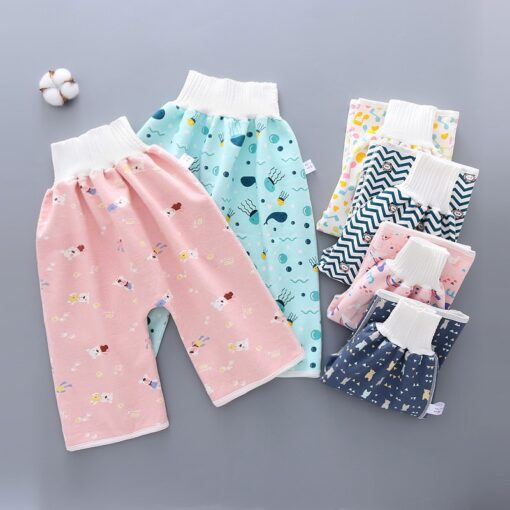 Reusable Children Diaper Skirt Training Skirt Pure Cotton High Waist Waterproof Diaper Skirt Baby Cloth Diaper 3