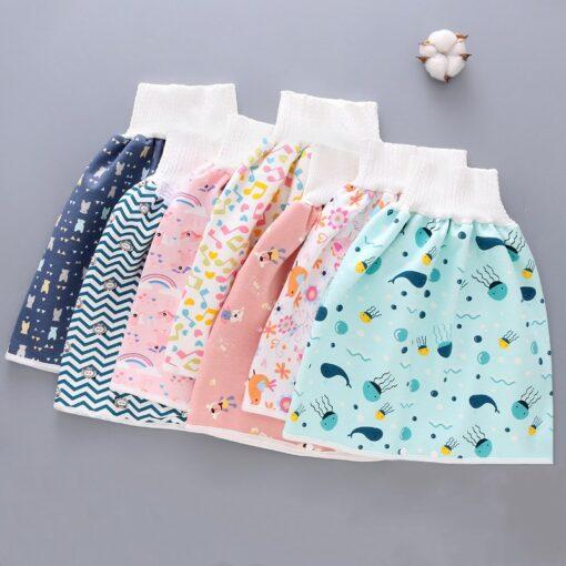 Reusable Children Diaper Skirt Training Skirt Pure Cotton High Waist Waterproof Diaper Skirt Baby Cloth Diaper