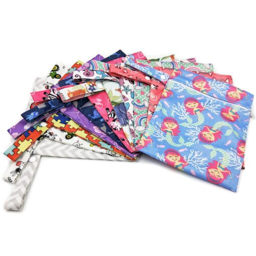 Reusable Waterproof Wet Bag Printed Single Pocket Nappy Bags PUL Travel Wet Dry Bags Mini Size 1