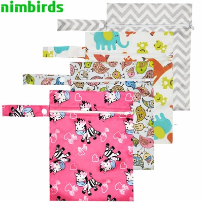 Reusable Waterproof Wet Bag Printed Single Pocket Nappy Bags PUL Travel Wet Dry Bags Mini Size