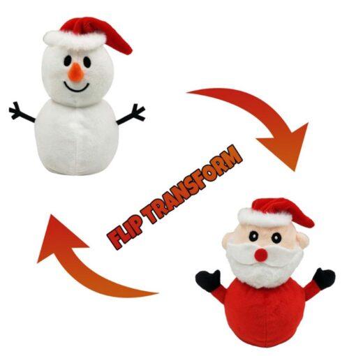 Reversible Flip Santa Stuffed Plush Doll Soft Simulation Plush Toy Christmas Plush Doll Kids Filled Plush
