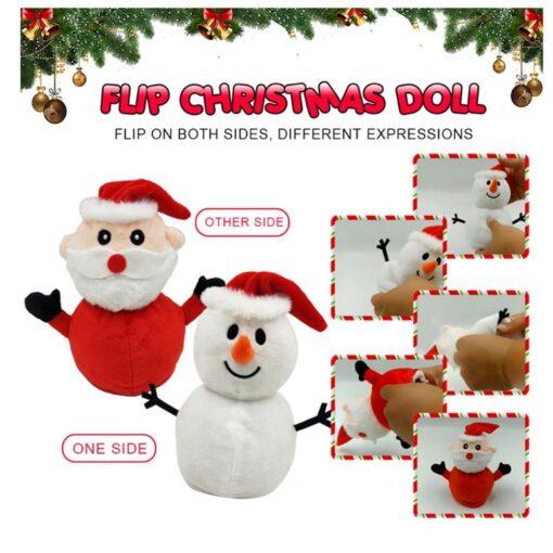 Reversible Flip Santa Stuffed Plush Doll Soft Simulation Plush Toy Christmas Plush Doll Kids Filled Plush 9