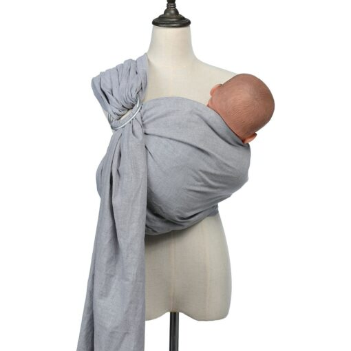 Ring Cotton and Linen Baby Sling Solid Color Multifunctional Carrier Accessories Wrap Newborn Backpack Waist 1