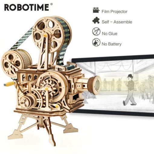 Robotime 183pcs Retro Diy 3D Hand Crank Film Projector Wooden Model Building Kits Assembly Vitascope Toy