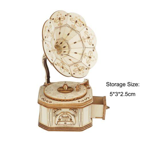 Robotime Gramophone 3D Wooden Model Building Kits Toys For Children Kids Girls Birthday Gift 2