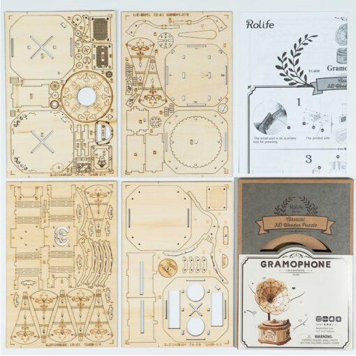 Robotime Gramophone 3D Wooden Model Building Kits Toys For Children Kids Girls Birthday Gift 5