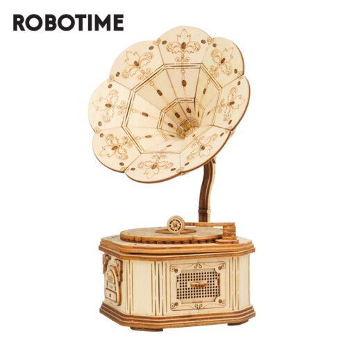 Robotime Gramophone 3D Wooden Model Building Kits Toys For Children Kids Girls Birthday Gift