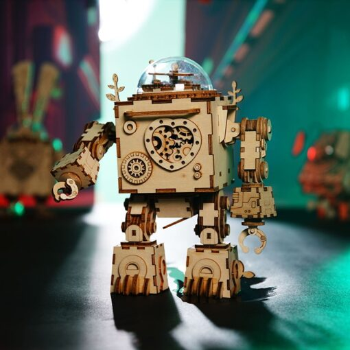 Robotime ROKR Steampunk Music Box 3D Wooden Puzzle Assembled Model Building Kit Toys For Children Birthday 1