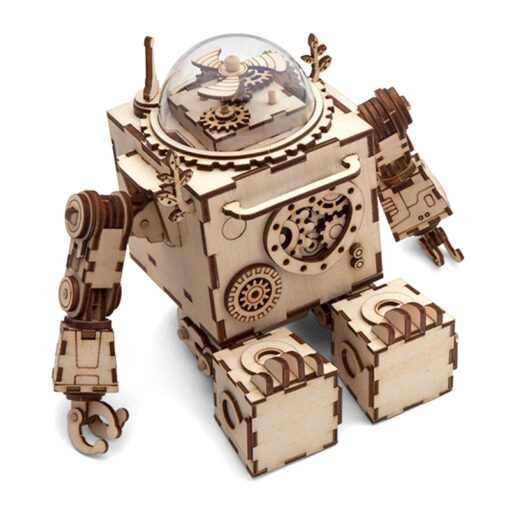 Robotime ROKR Steampunk Music Box 3D Wooden Puzzle Assembled Model Building Kit Toys For Children Birthday 4