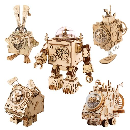 Robotime ROKR Steampunk Music Box 3D Wooden Puzzle Assembled Model Building Kit Toys For Children Birthday
