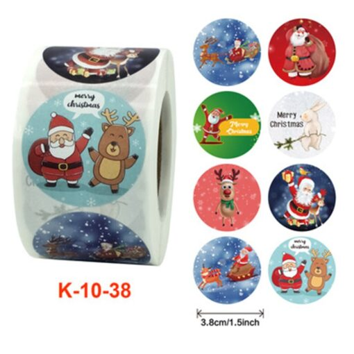 Roll Christmas Gift Sticker Lable With Santa Cartoon Character Envelope Seal Copper Decoration Sticker 12
