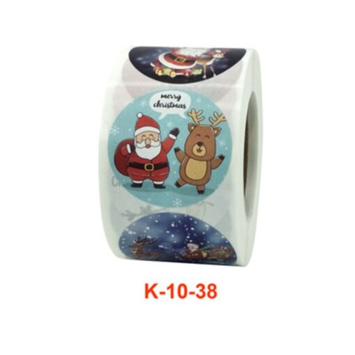 Roll Christmas Gift Sticker Lable With Santa Cartoon Character Envelope Seal Copper Decoration Sticker 13