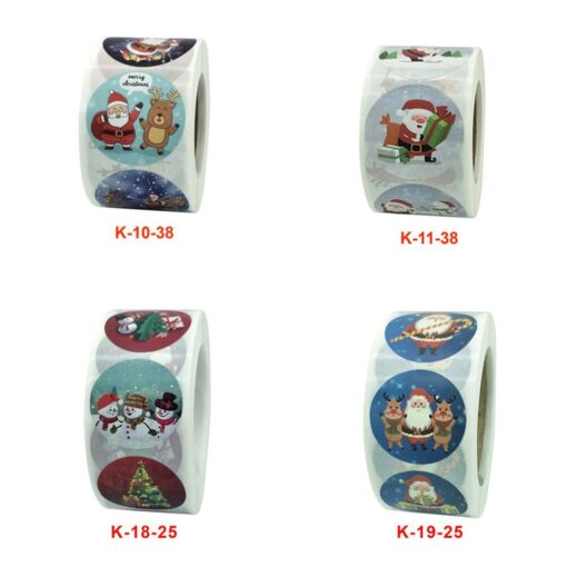 Roll Christmas Gift Sticker Lable With Santa Cartoon Character Envelope Seal Copper Decoration Sticker 14