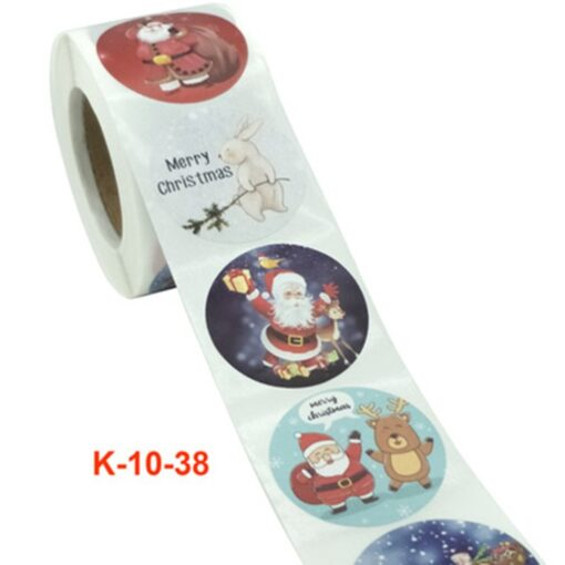 Roll Christmas Gift Sticker Lable With Santa Cartoon Character Envelope Seal Copper Decoration Sticker 15