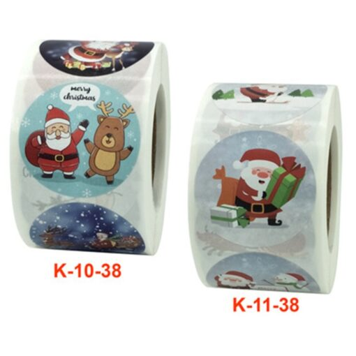 Roll Christmas Gift Sticker Lable With Santa Cartoon Character Envelope Seal Copper Decoration Sticker 16