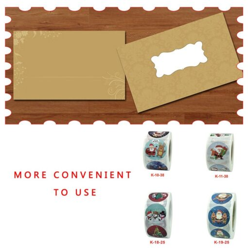 Roll Christmas Gift Sticker Lable With Santa Cartoon Character Envelope Seal Copper Decoration Sticker 17