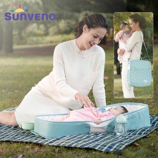 SUNVENO Portable Baby Crib Travel Folding Baby Bed Bag Infant Toddler Cradle Multifunction Storage Bag For 1